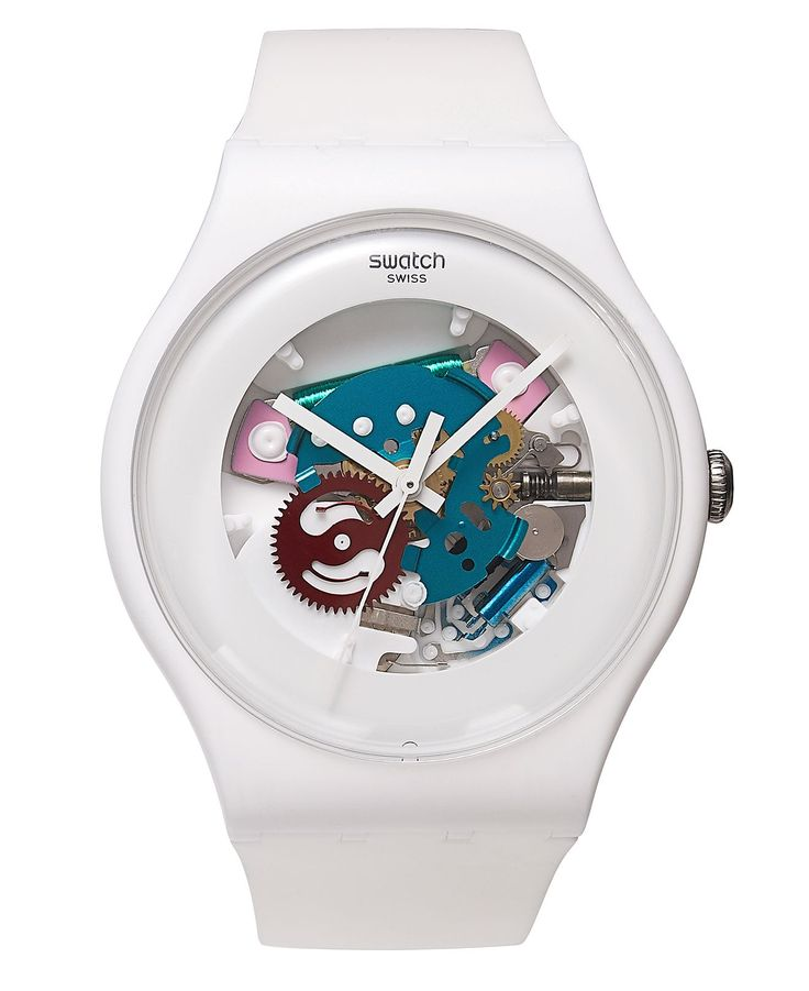 Swatch Watch, Unisex Swiss White Lacquered White Silicone Strap 41mm SUOW100 - Men's Watches - Jewelry & Watches - Macy's