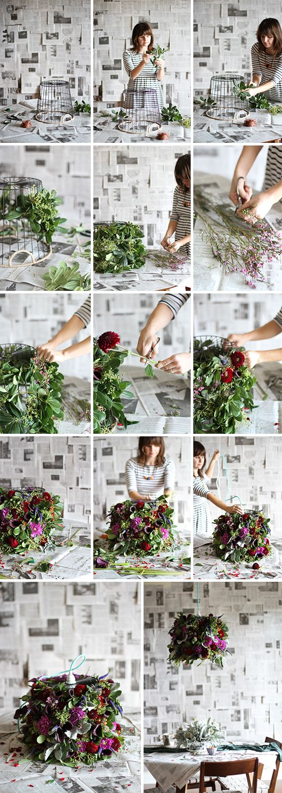 DIY // fresh flower pendant light with www.flowermuse.com