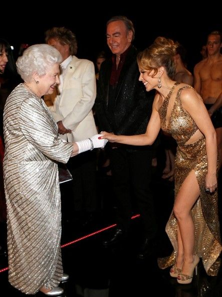 Queen Elizabeth greeting Kylie Minogue while attending the 2012 Royal Variety Performance at the Royal Albert Hall 19 Nov 2012