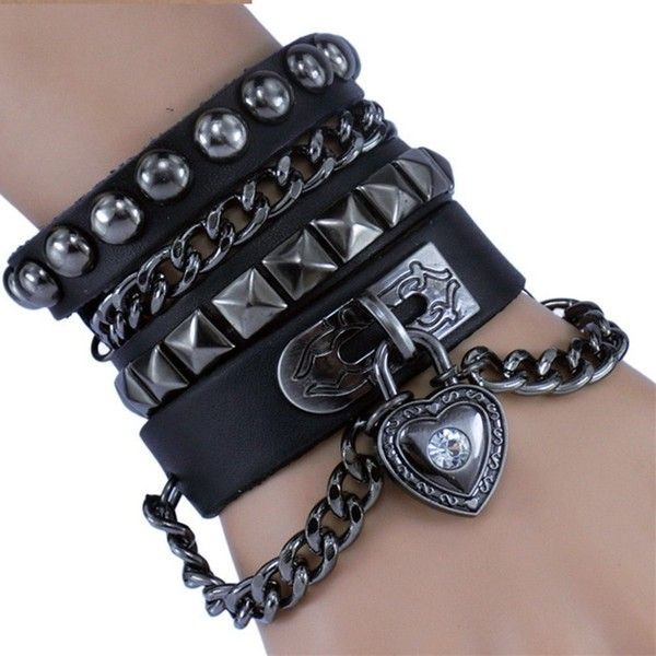 Amazon.com: Geminis Jewelry Retro Punk Rock Style Multi Circle Rivet... ($13) ❤ liked on Polyvore featuring jewelry, bracelets, accessories, chains jewelry, retro style jewelry, wrap jewelry, circle jewelry and leather bangle