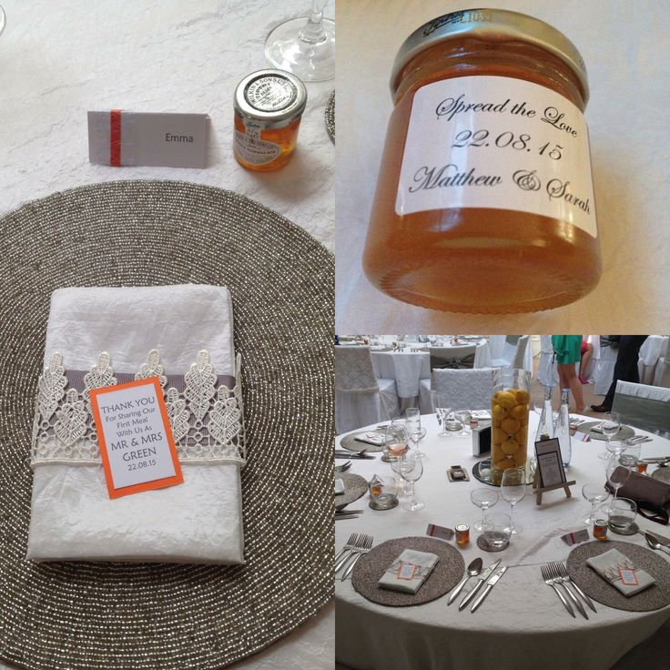 Minimalist & elegant wedding breakfast design. Lemons & water in tall vase on top of a mirror for the centrepiece with candles around the bottom. Tiptree personalised miniature marmalades for wedding favours. Orange, yellow, grey & white theme