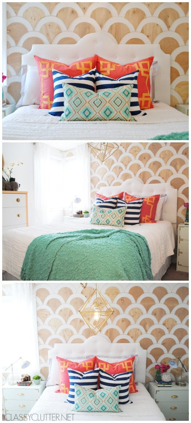 Not gonna lie. I'm totally swooning over this #DIY Wooden Scalloped Bedroom Wall from @Katie Hrubec Hrubec Hrubec Hrubec Hrubec Hrubec lamoureux Clutter! /ES