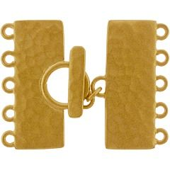 24K Gold Plated Sterling Silver Five Strand Silver Toggle Clasp with hammered finish