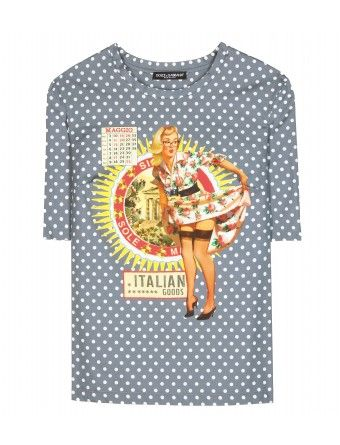 """Printed with polka dots and a playful pinup design, Dolce & Gabbana's cotton T-shirt is a high-fashion take on a casual classic. The half-sleeve style is a piece you'll keep forever. Wear it with feminine skirts and effortless denim."""