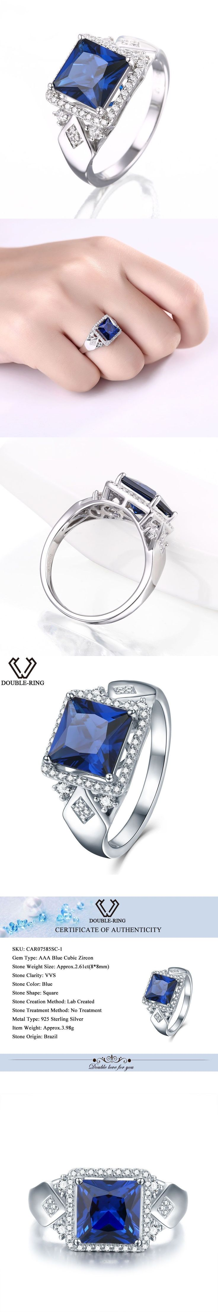 DOUBLE-R 925 Sterling Silver Jewelry Wedding Engagement Created Sapphire vintage Fine Jewelry Rings for women alibaba express #silverjewelry #jewelryrings #weddingrings