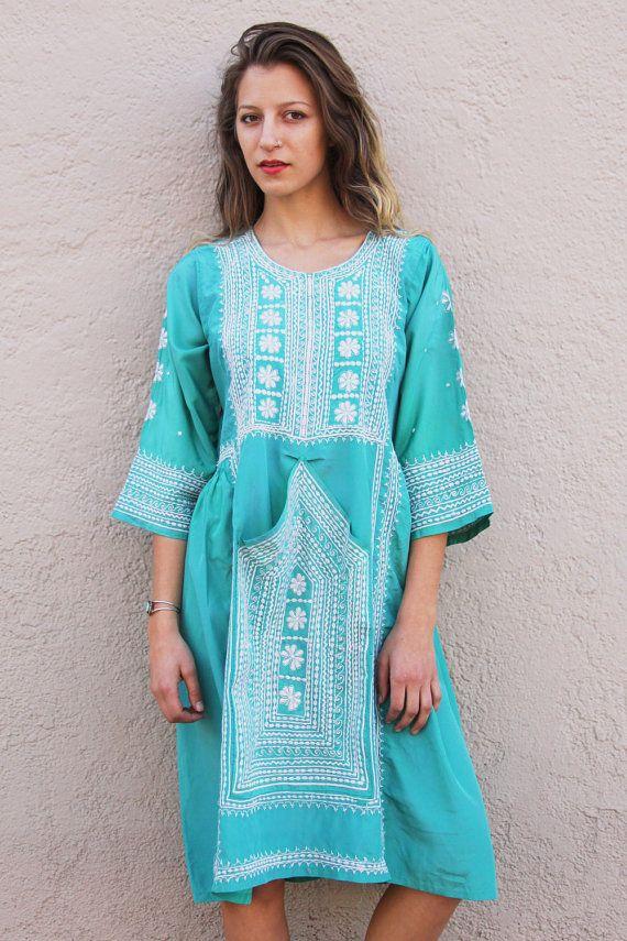 Ocean Blue Afghani Dress by TavinShop on Etsy