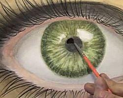 Een realistisch oog getekend