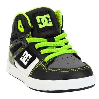 DC Shoes Boys 1st Walker Rebound Sneakers #VonMaur #DCShoes #Black #Lime