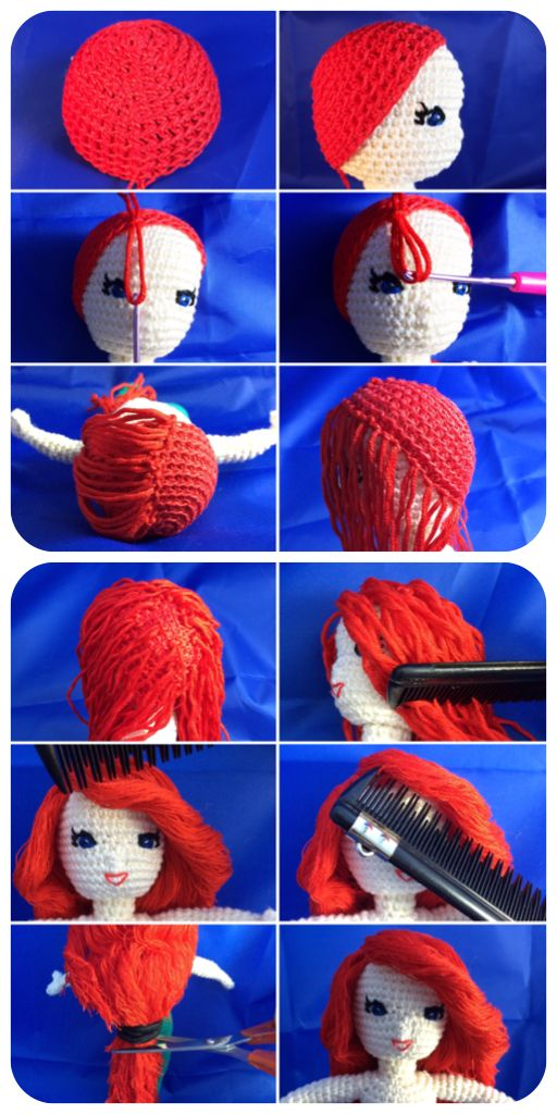 Foto-Tutorial wig for crochet dolls inspired by Ariel, the little mermaid.