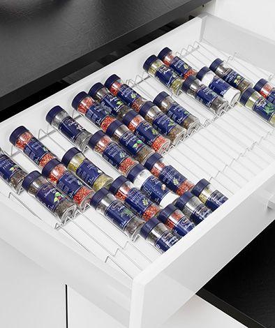 Kryddställ – Placeras lämpligast i en låda med glidskyddsmatta, finns i fasta bredder för lådhurtsar i bredder 400/500/600