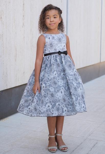 Black Floral Print Satin & Organza Overlay Girls Occasion Dress 2T-14