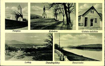 Dunabogdány; Templom; Kálvária; Galatin-üzletház; Látkép; Duna-részlet | Képeslapok | Hungaricana