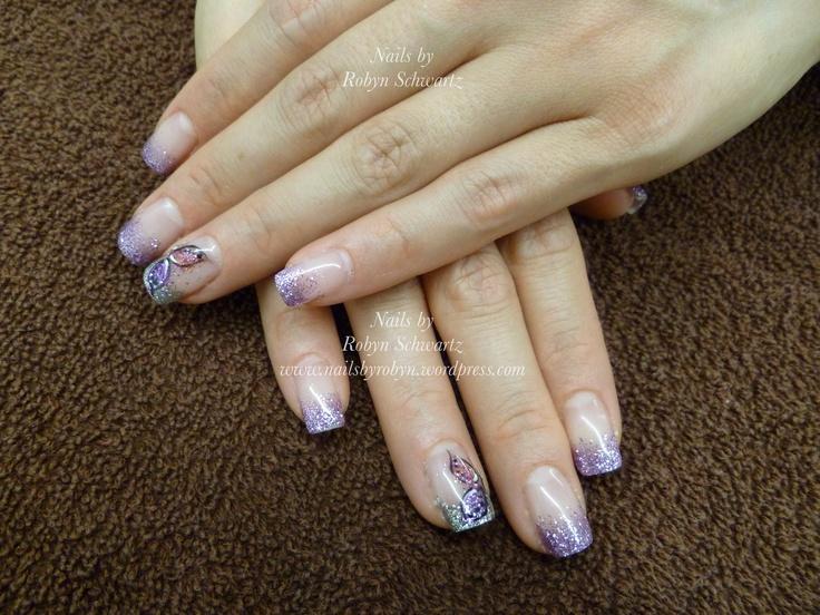 Gel nails, glitter and butterflies!