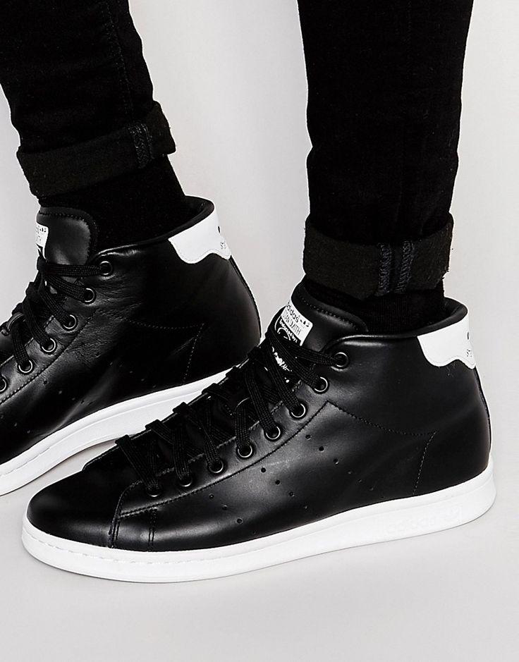 Super cool adidas Originals Stan Smith Mid Trainers S75027 - Black adidas Originals Løbesko til Herrer i fantastisk kvalitet