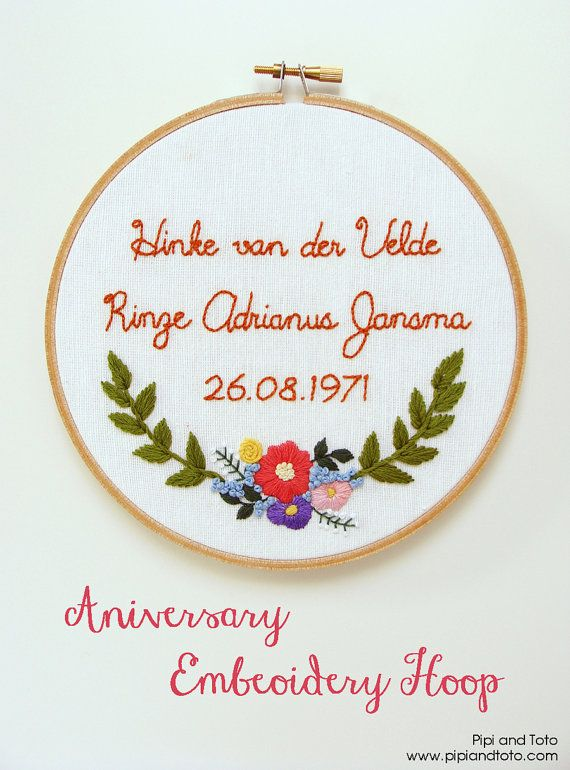 Anniversary Date Custom Embroidery. Wedding Date. Anniversary Gift. Wedding Gift.
