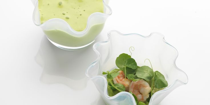 Pea, prawn and dashi jelly - a dazzling combination that lights up this summery canapé from Daniel Clifford
