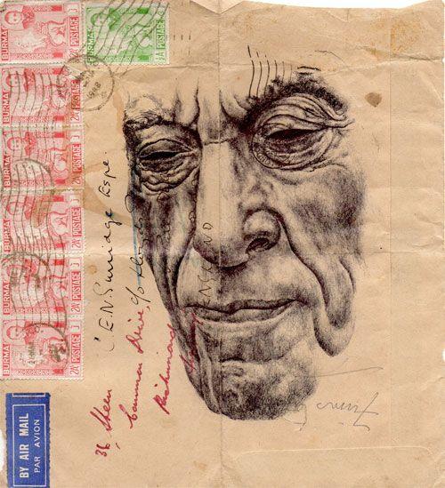 I love these portraits on vintage envelopes    Blog: A Wrinkle in Time…
