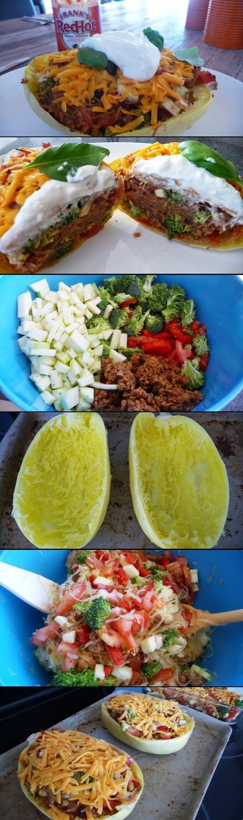 Twice Baked Spaghetti Squash! Healthy, low calorie, filling and delicious! I'll have to use real ground round and dairy though ...ksv