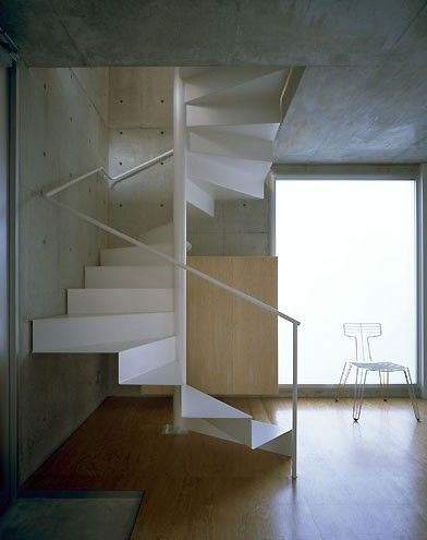 A stairway from the Threefold House by Japanese firm Takao Shiotsuka Atelier.