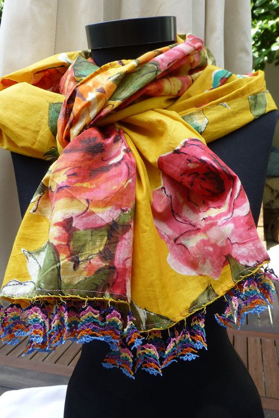 Yellow Cotton Multicoloured Floral Bohemian by Pllowcoversetc, $39.00