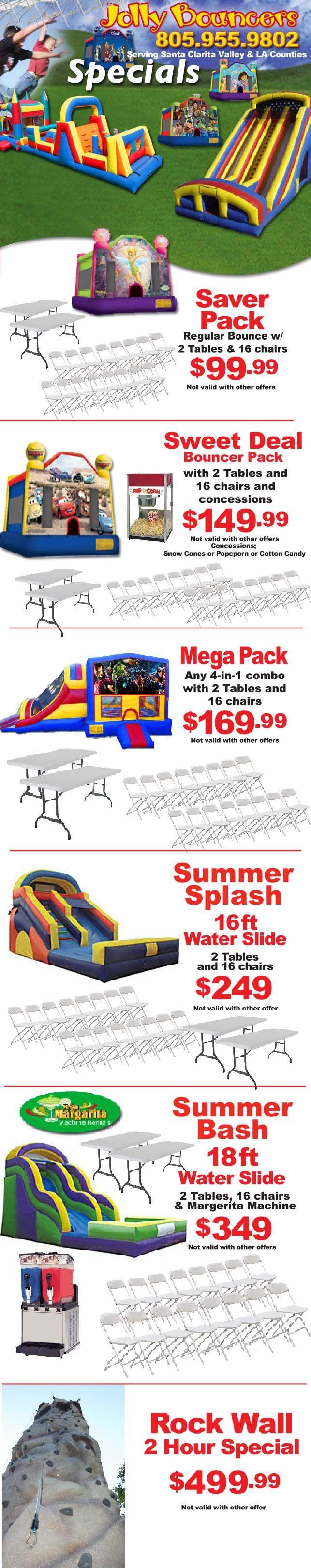 Our Specials : Moonwalk Rentals : Tent Rentals : Popcorn Machine Rental Los Angeles : Jolly Bouncers