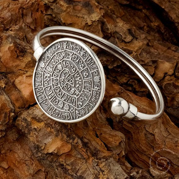 Phaistos Disc Sterling Silver Bangle by CircleOfLifeGreece on Etsy