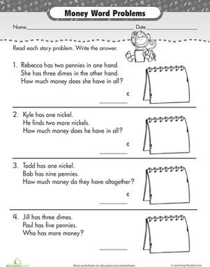 Help your first grader learn how to compare penny, nickel and dime coin values with this word problem worksheet.