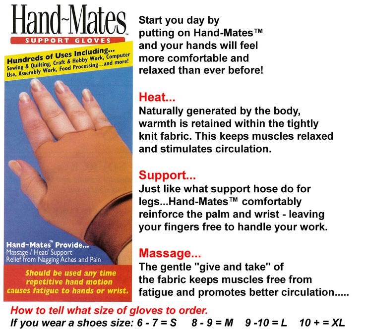 "Start your day by putting on Hand-Mates™ and your hands will feel more comfortable and relaxed than ever before! Heat… Naturally generated by the body, warmth is retained within the tightly knit fabric. This keeps muscles relaxed and stimulates circulation. Support… Just like what support hose does for legs...Hand-Mates™ comfortably reinforces the palm and wrist - leaving your fingers free to handle your work.  Massage… The gentle ""give and take"" of the fabric keeps muscles free from fatigue…"