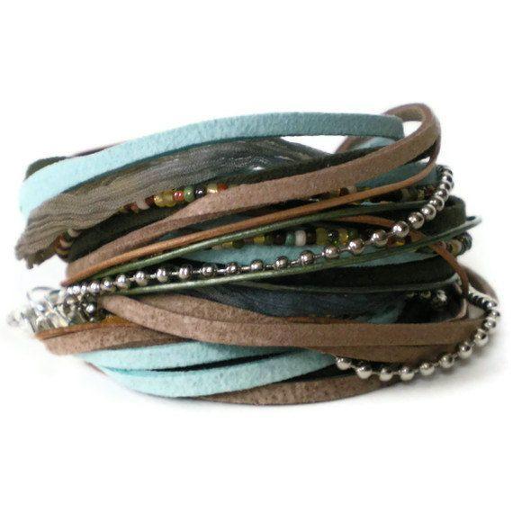 bohemian leather wrap bracelet, ribbon, suede, seed beads, blue, green, brown, rocker, triple wrap
