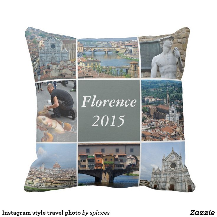 Instagram style travel photo throw pillow. Images of Florence