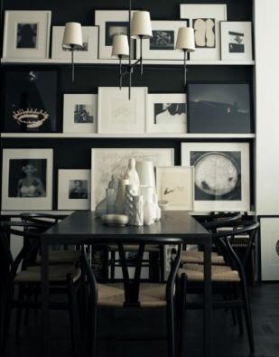 dining rooms - Wishbone Chair Bryant Chandelier white black black wood dining table Jonathan Adler ceramic statues vases white Ikea lack floating shelves photo gallery black walls