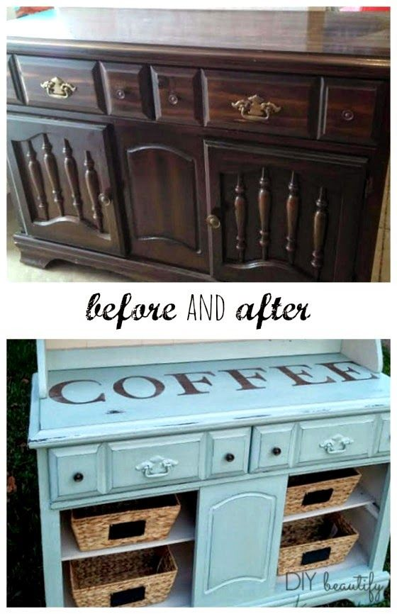 Outdated Hutch to Coffee Bar - revive an old hutch and create a unique piece for your home. See the tutorial at www.diybeautify.com