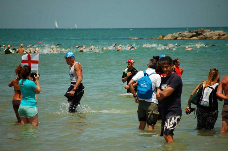 Athletes exit swim course - Ironman 70.3, Pescara Italy