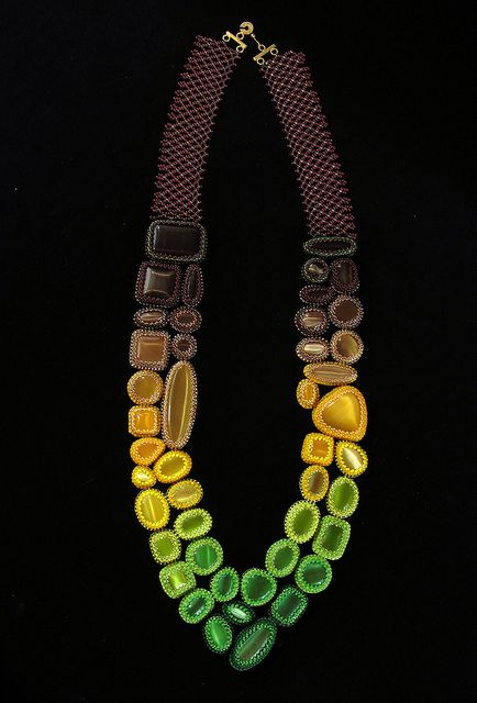 Fade Out Necklace by TheVerdantEdge - beadwoven strap and bead-bezelled cabochons...