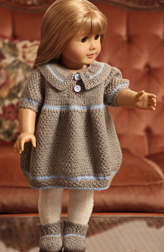 """Model 0105D NORA - Dress, Pants, Hairband and socks. This patterns fits 17"""" - 18"""" dolls like American Girl doll, Baby born and Alexander doll. Design: Målfrid Gausel"""