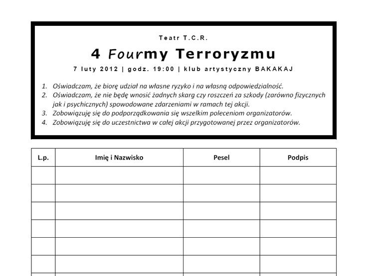 """Cyrograf do akcji artystycznej """"4 formy terroryzmu"""""""