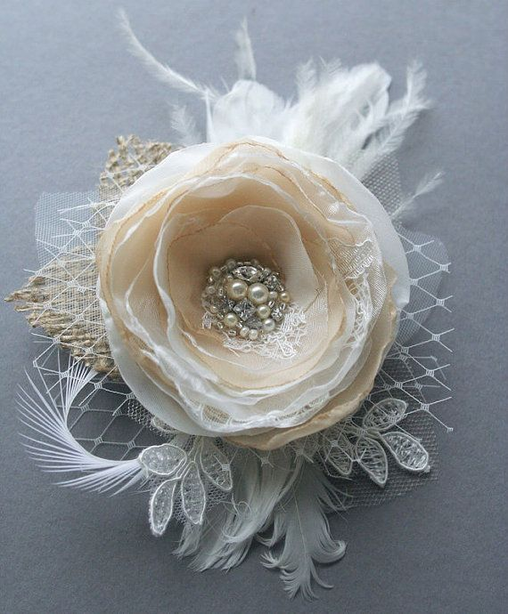 Vintage Inspired Bridal Hair Accessory Champagne by BelleBlooms, $47.00
