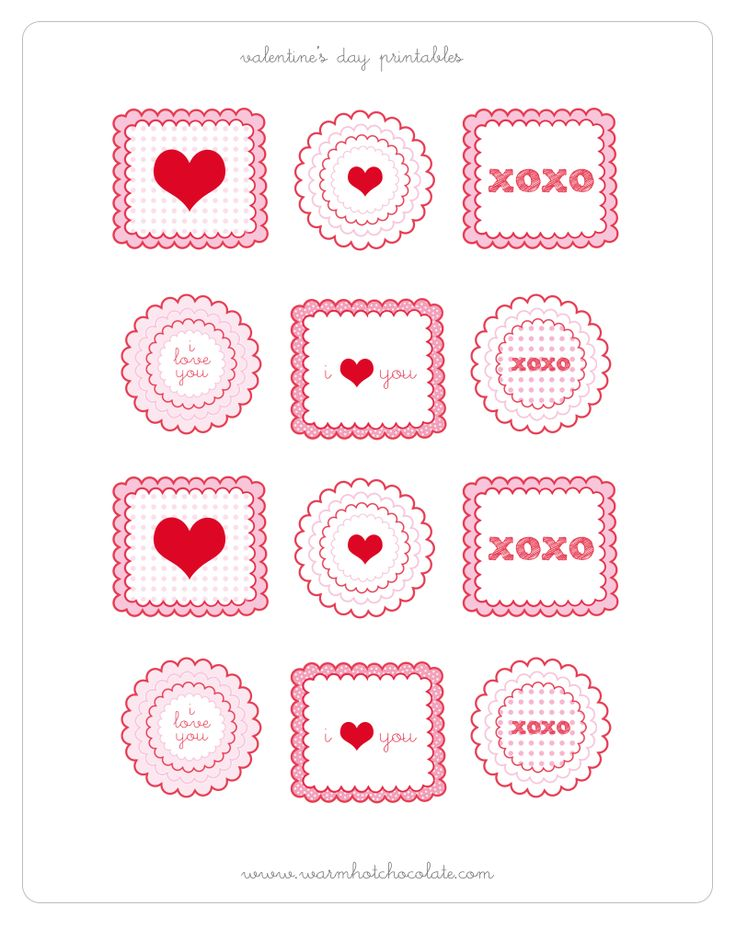 Free Printable of Valentines Day Cupcake Toppers...cute