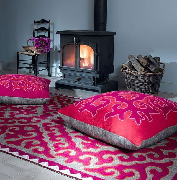 Interesting Floor Pillows And Cushions Ideas At The Room: Cozy Nook Next To The Fireplace