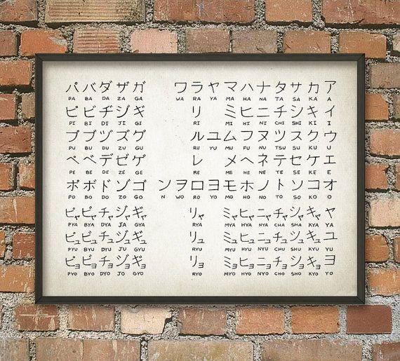 Japanese Alphabet Print - Katakana Script - Japanese Wall Art Poster - Japanese Language Chart