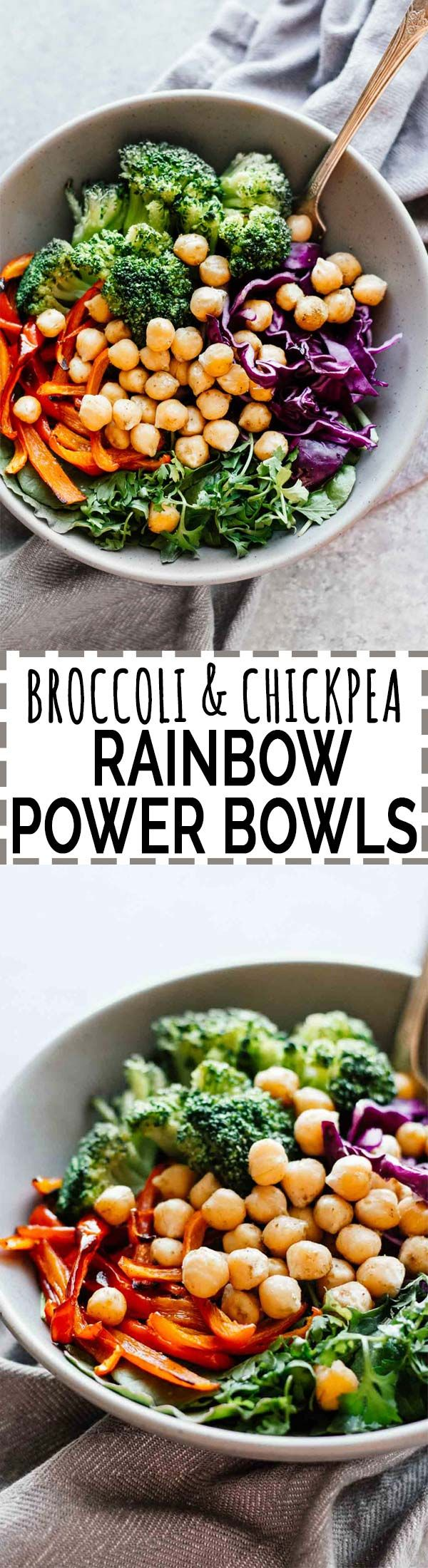 Broccoli & Chickpea Rainbow Power Bowls! Vegan, vegetarian, gluten-free, grain-free. Make these in 25 minutes or less, double to meal-prep for easy lunches and dinners throughout the week!