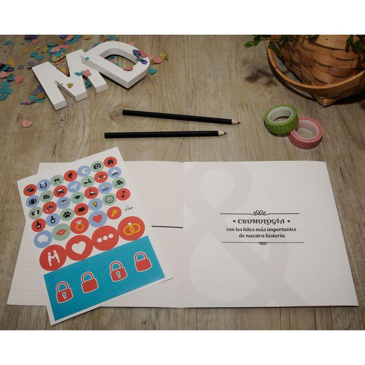 Una de las cosas que incluye la Retrobox Sí Quiero es una cronología desplegable en la que la pareja plasmará toda su historia, con los hitos más importantes desde que se conocieron hasta el día de la boda. Incluye una hoja con pegatinas con dibujos, para que la pareja complete la cronología de su historia con todo lujo de detalles. ¡Seguro que les encanta volver a leer parte de su historia cuando abran su cápsula del tiempo! #capsula #tiempo  #MyRetrobox #recuerdos #boda