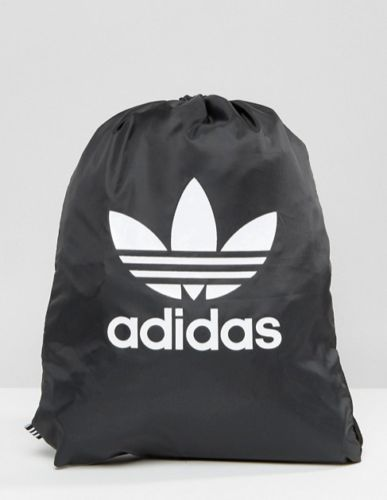 finest selection bbdb4 baf45 adidas Originals Drawstring Backpack With Trefoil Logo In Black