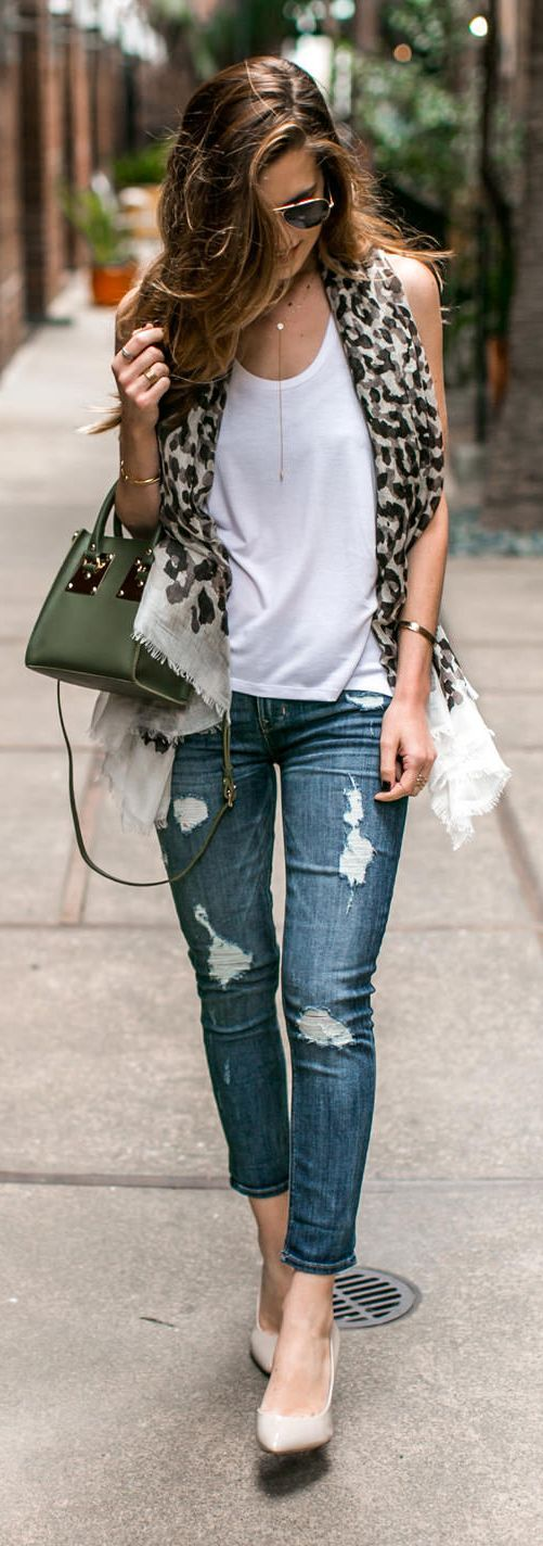 casual animal print scarf + crisp white shirt + destroyed denim + olive purse + minimalist necklace