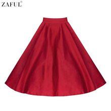 Zaful moda mujeres vintage de cintura alta oscilación grande color sólido faldas Más El Tamaño L ~ 4XL Trabajo de Oficina Formal Falda Del Partido Del Club faldas(China (Mainland))