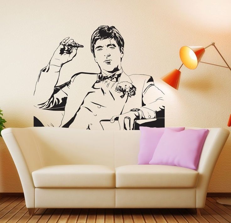 Famous Tony Montana Scarface Movie Wall Decal Wall Sticker Room Decor Vinyl Wall Art Mural Fashion Removable Wall Paper