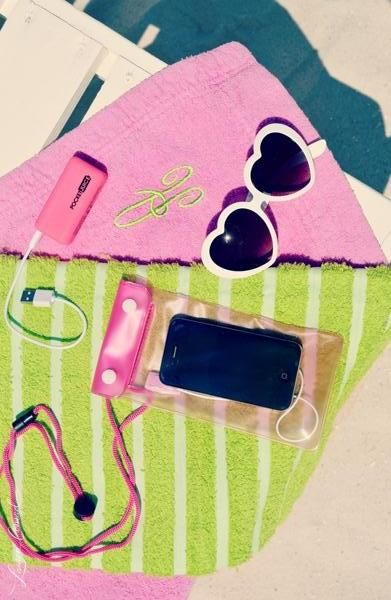 the essentials for a dazzling day at the #beach. and those heart sunglasses - wear those everyday everywhere! #travelbrightly #phone #casing #waterproof