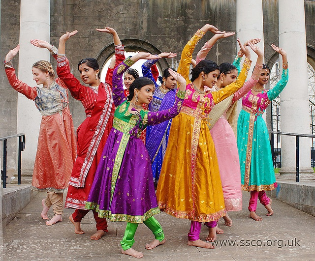 Kathakaars  Members of Kathakaars strike a pose at a photo shoot in Birmingham's Peace Garden.    Kathakaars are a group of young dancers dedicated to exploring the Indian classical Kathak tradition in the UK. Working under the tutelage of Sonia Sabri, they undertake intensive training and perform regularly.    Image by Simon Richardson.