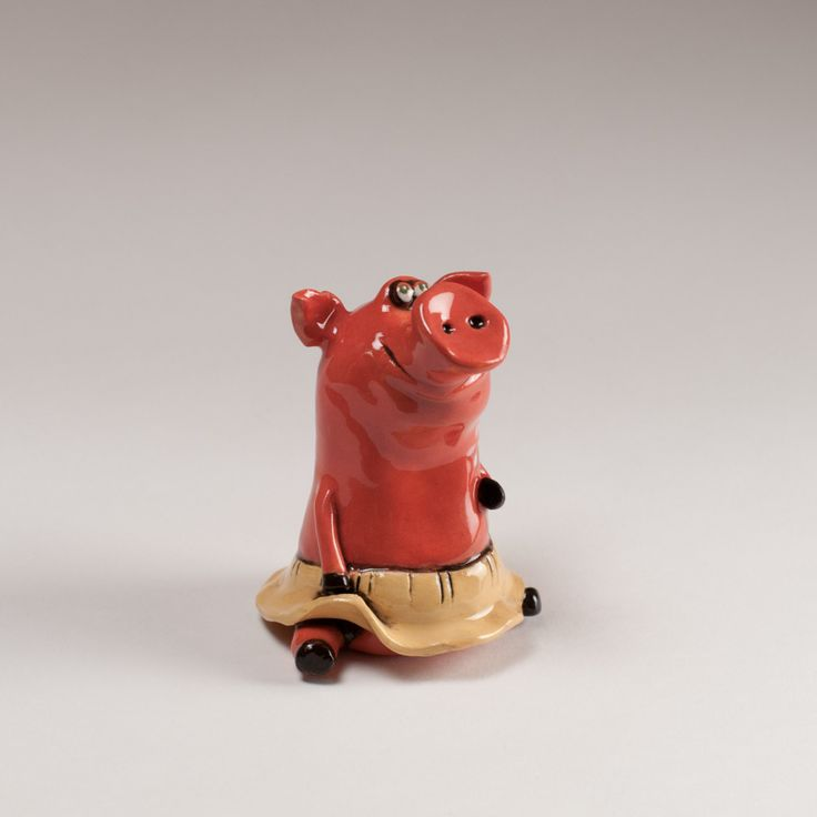 """Ceramic figurine """"Pig in a skirt"""" by KuklaArt on Etsy"""