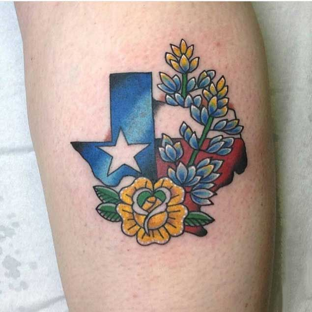 State of Texas flower tattoos